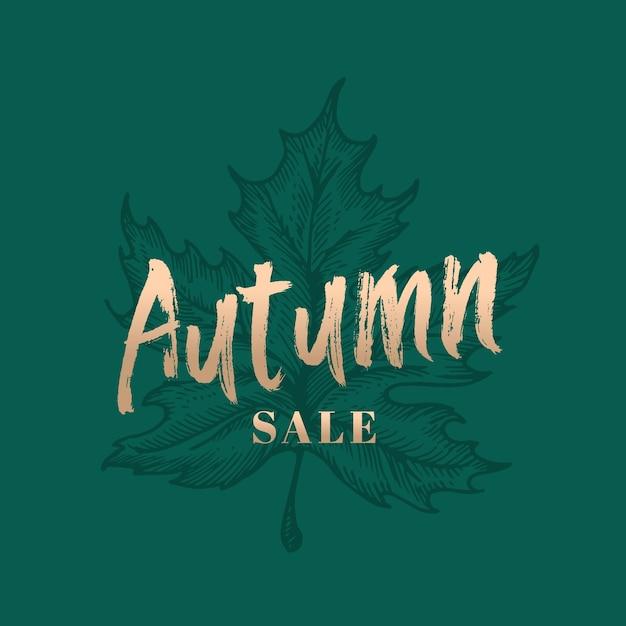 Retro etichetta, segno o modello della carta dell'estratto di vendita di autunno. Vettore gratuito