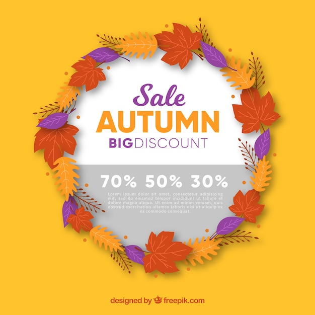 Autumn sale and circle with leaves