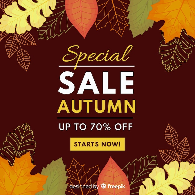 Autumn sale background flat style Free Vector
