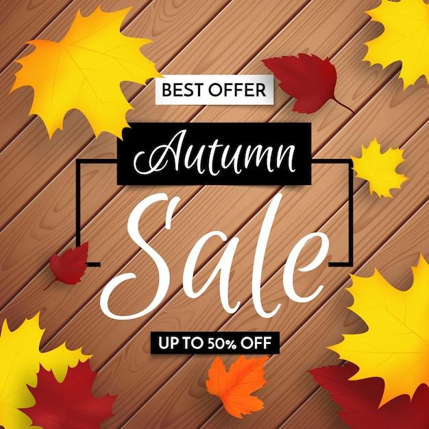 Осенняя распродажа фоновый макет украсить листьями на деревянном фоне для продажи или промо-плаката. ограниченное предложение по продаже Premium векторы