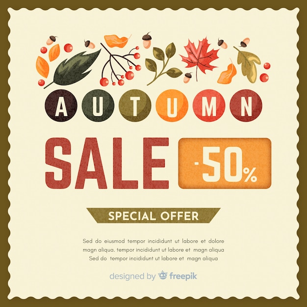 Autumn sale background vintage design Free Vector