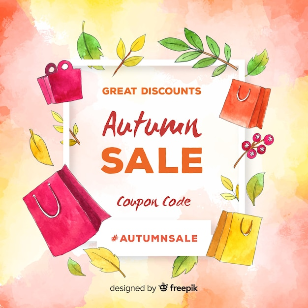 Autumn sale background watercolor style Free Vector