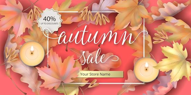 Осенняя распродажа фон с упавшими кленовыми листьями и свечами. Premium векторы