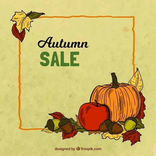 Autumn sale background with leaves and\ pumpkins
