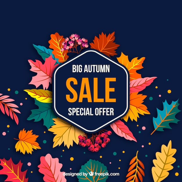 Autumn sale background with leaves Free Vector