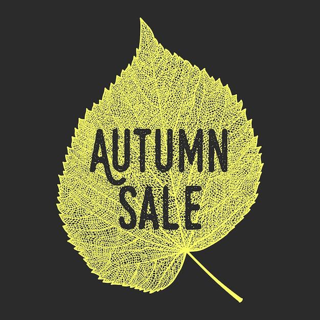 Осенняя распродажа фон с векторными скелетонизированными листьями. Premium векторы
