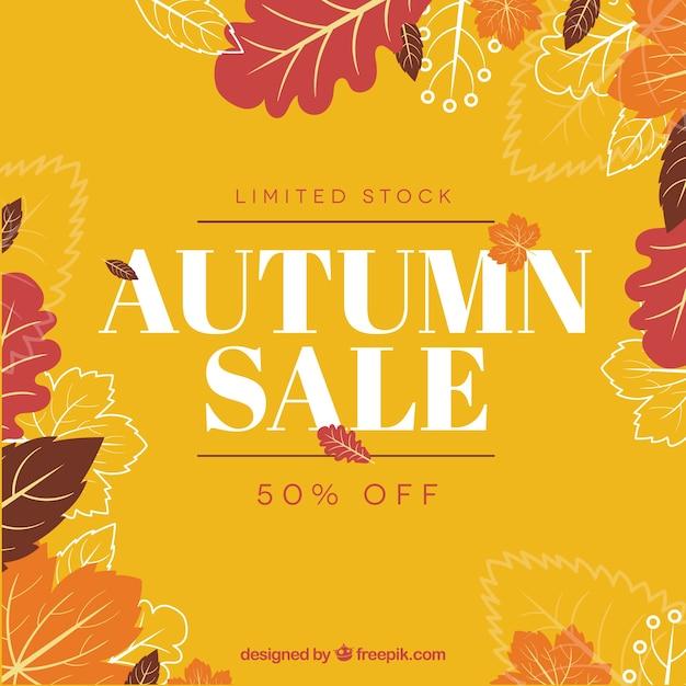 Autumn sale background Free Vector
