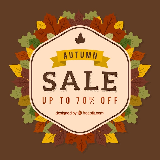 Autumn sale badge with flat leaves