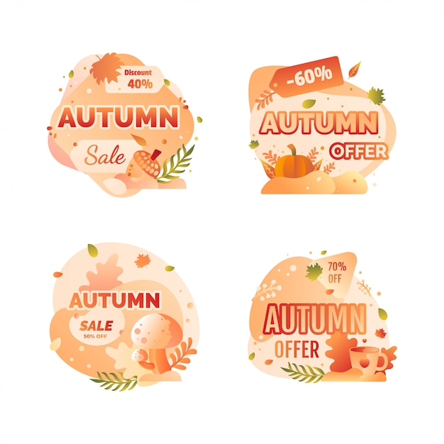 Autumn sale badge Premium Vector