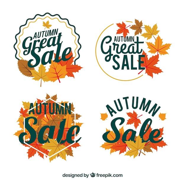Autumn sale badges with flat design