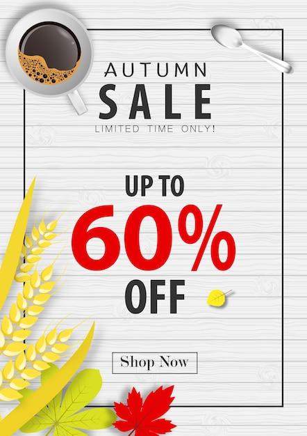 Autumn sale banner background Premium Vector