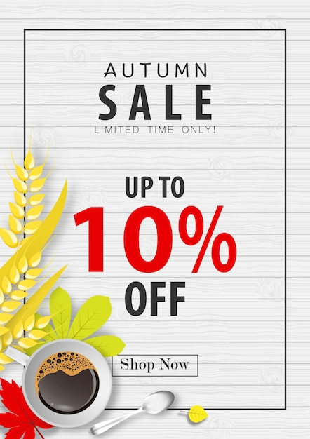 Autumn sale banner background Premium Vector