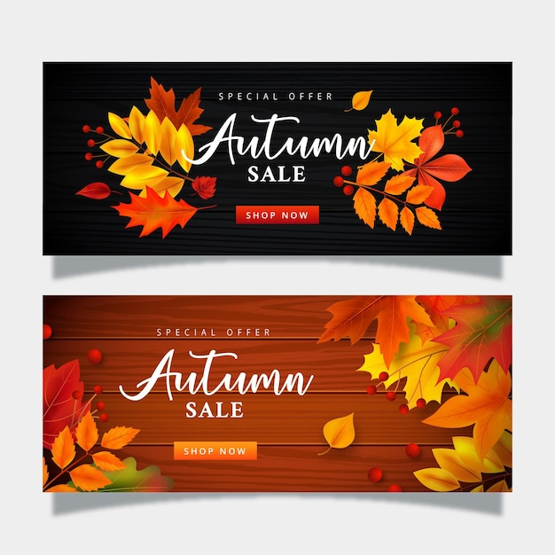 Autumn sale banner collection template Free Vector