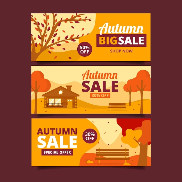 Autumn sale banner collection Free Vector