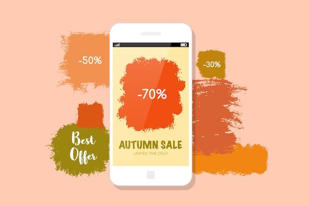 Осенняя распродажа баннеров. современный мобильный телефон и пятна краски на фоне. Premium векторы
