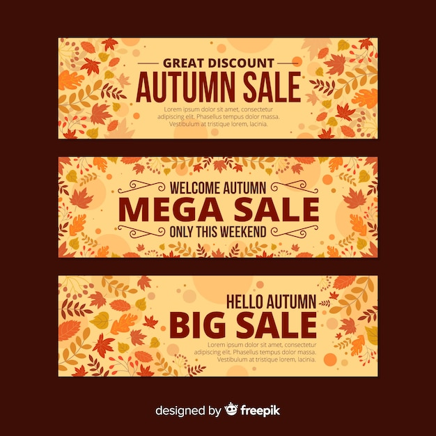 Autumn sale banner flat design Free Vector