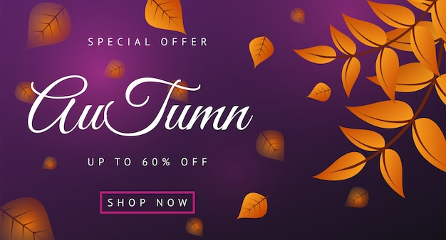 Autumn sale banner layout decorate with leaves Premium Vector