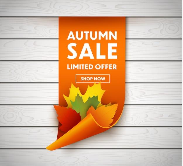Осенняя распродажа баннер с осенними листьями. ценник или этикетка. Premium векторы