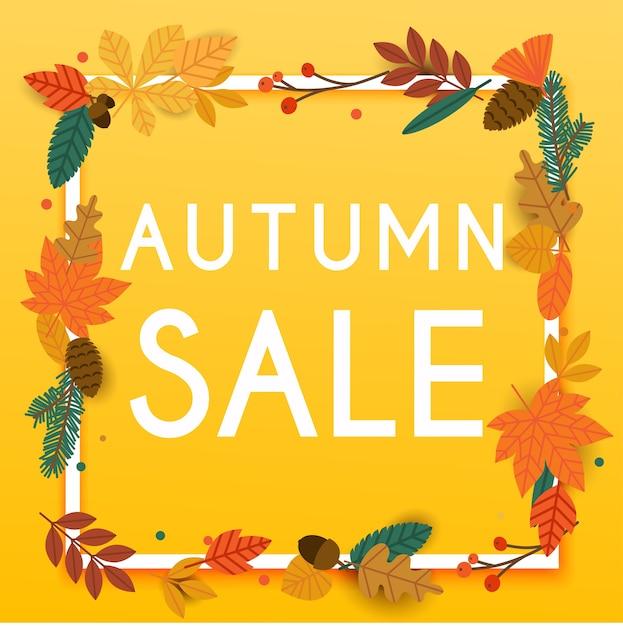 秋の販売バナーの葉、ポスター、チラシ。図。 Premiumベクター