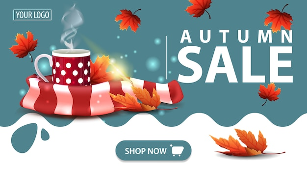 Autumn sale, banner with mug of hot tea and warm scarf Premium Vector