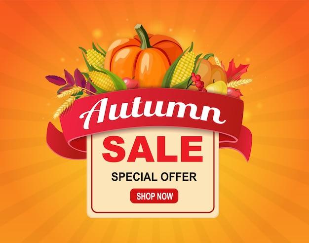 Осенняя распродажа баннер с лентой и урожаем овощей. Premium векторы