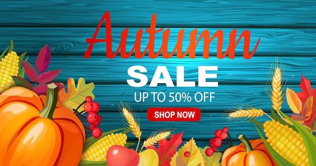Осенняя распродажа баннер с сезонными овощами. Premium векторы