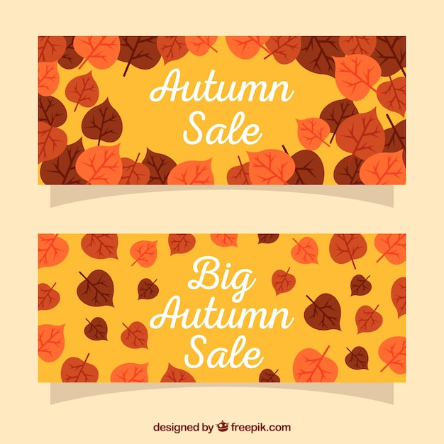 Autumn sale banner Free Vector