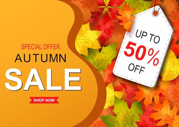 Autumn sale banner Premium Vector