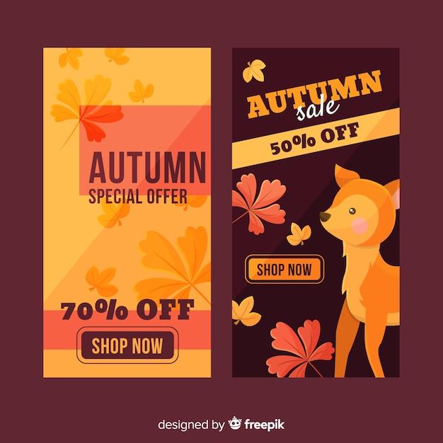 Autumn sale banners flat design Free Vector