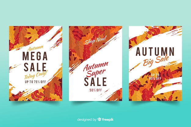 Autumn sale banners flat design Free Vector