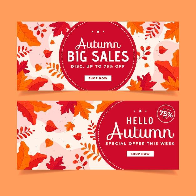 Осенняя распродажа баннеров в плоском дизайне Бесплатные векторы