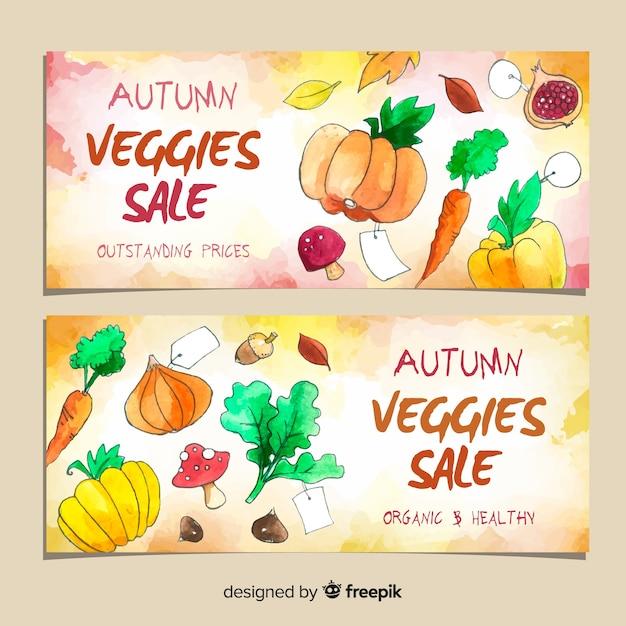 Осенняя распродажа баннеров акварель дизайн Бесплатные векторы