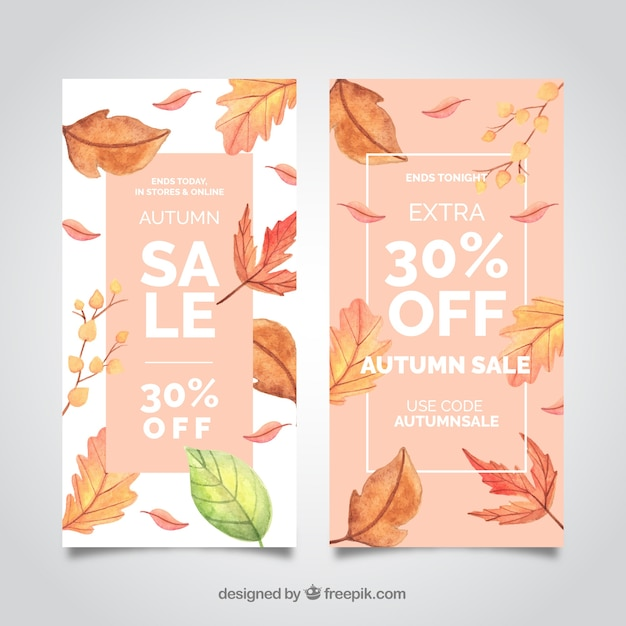 Autumn sale banners with realistic leaves Free Vector