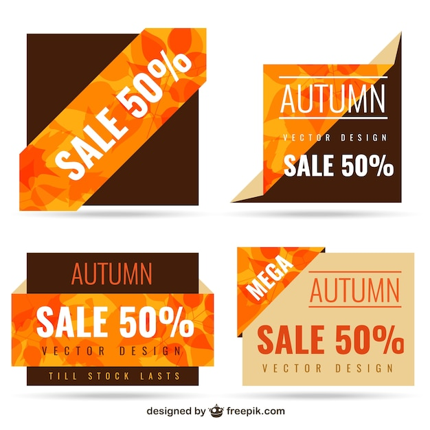 Autumn sale banners Free Vector