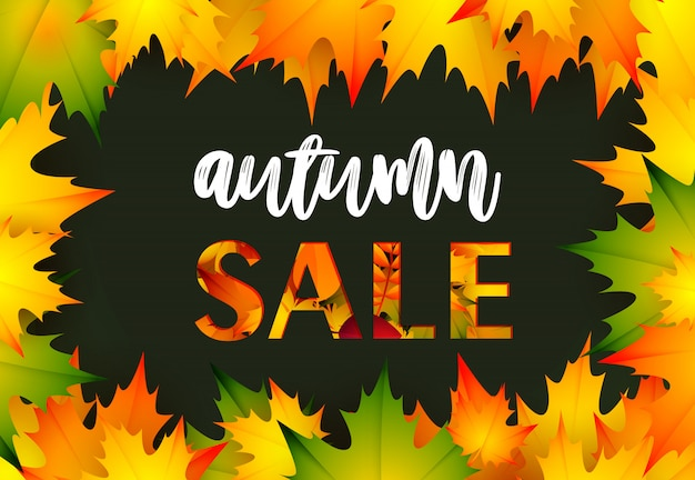 Autumn sale black retail banner Free Vector