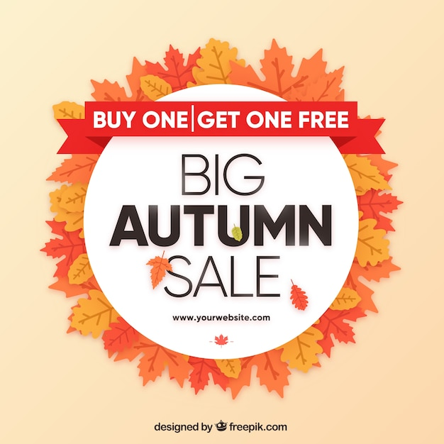 Autumn sale composition with circular style Free Vector