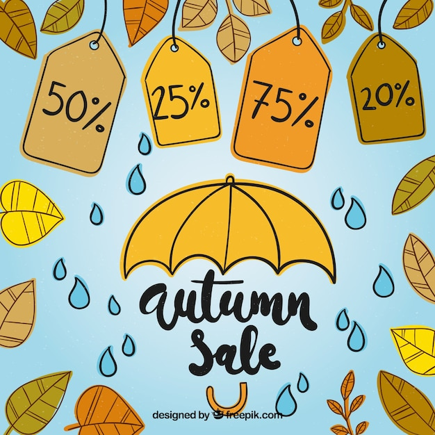 Autumn sale composition with umbrella and labels