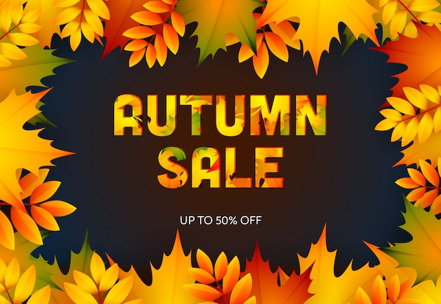 Осенняя распродажа темного розничного баннера Бесплатные векторы
