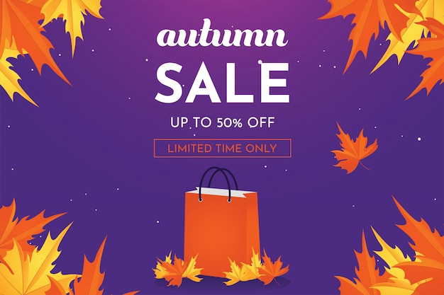 Autumn sale discount offer up to 50 percent off with oak leaves, banner and background. Premium Vector