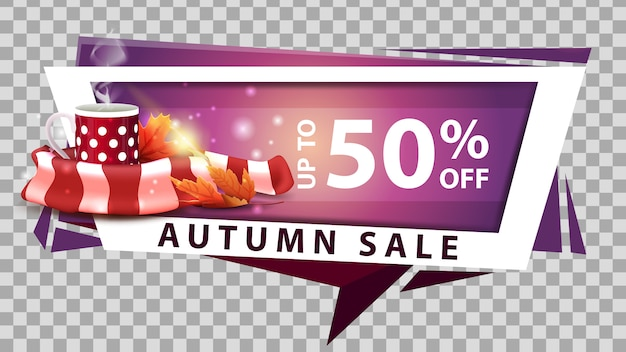Autumn sale, discount web banner in geometric style with mug of hot tea and warm scarf Premium Vector