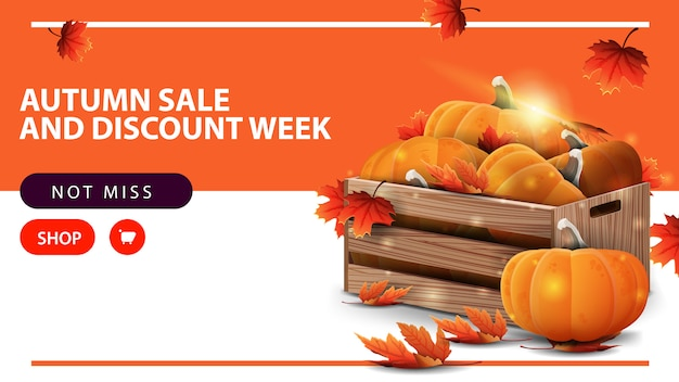 Autumn sale and discount week, horizontal discount web banner Premium Vector