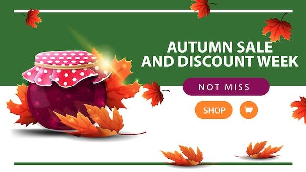Autumn sale and discount week, horizontal discount web banner Premium Vector