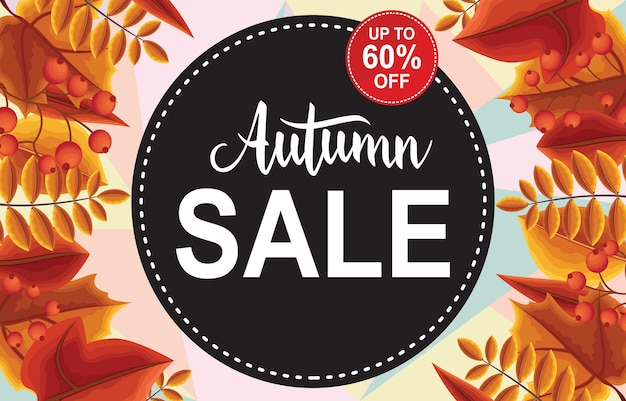 Autumn sale fall leaves shopping promotion card label banner Premium Vector