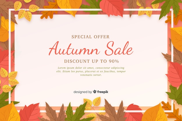 Autumn sale flat background template Free Vector