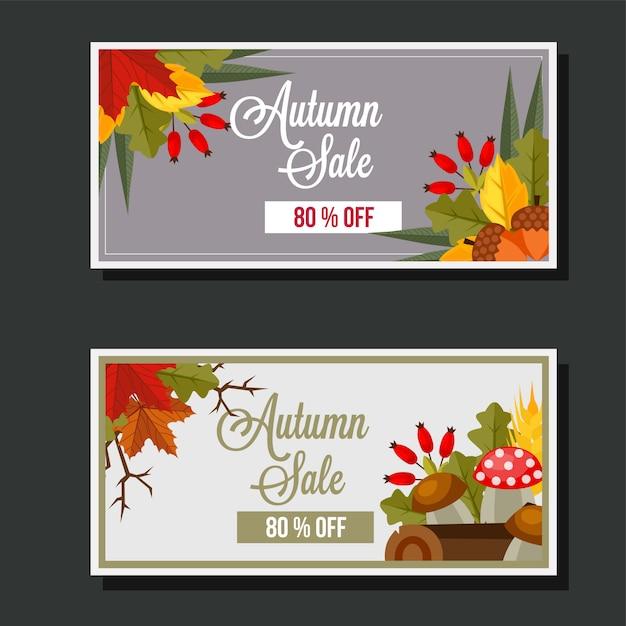 Autumn sale flat style leaves banner mushroom Premium Vector