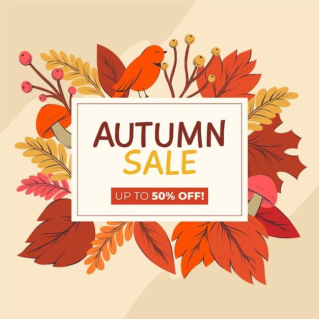Осенняя распродажа рисованной Бесплатные векторы