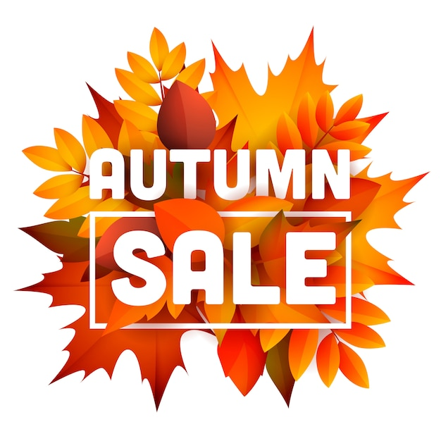 Autumn sale leaflet with bunch of leaves Free Vector