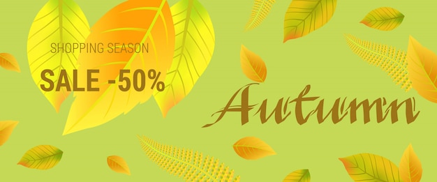 Autumn sale lettering with leaves. Shopping\ season sale fifty percent lettering