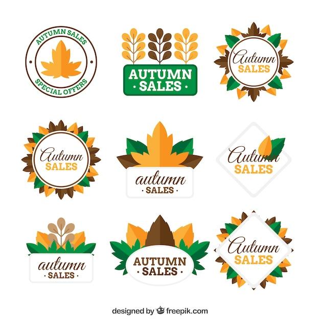 Autumn sale logo collection