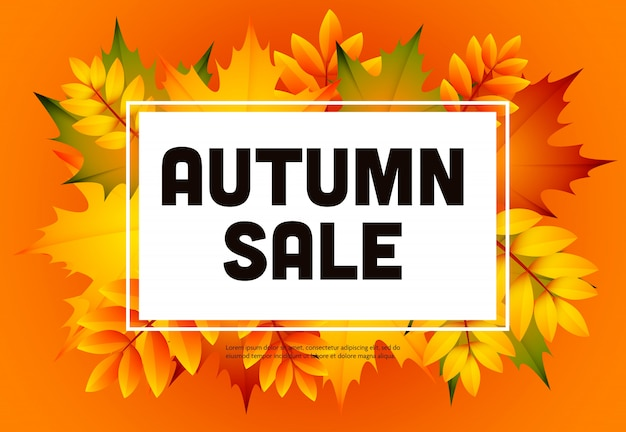 Autumn sale orange flyer with heap of leaves Free Vector